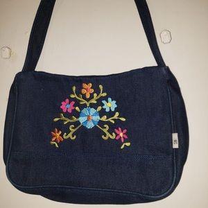 Multicolour Floral Embroidered Denim  Shoulder Bag